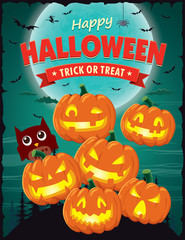 Vintage Halloween poster design with vector jack o lantern character.
