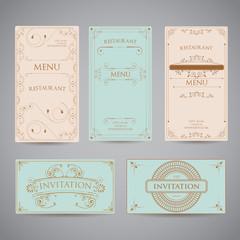 Set Of Vintage Luxury Greeting Restaurant Menu Design Template