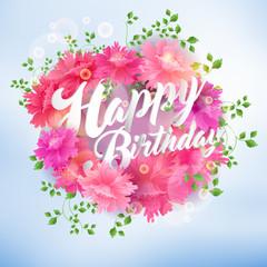 Happy Birthday Lettering Seasonal Banner Postcard Design