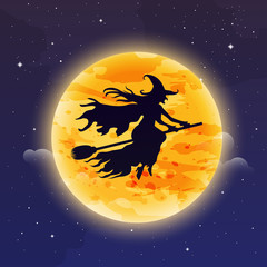 Witch Flying on Broomstick. Halloween background. Witch silhuett