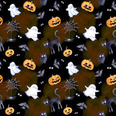 Halloween seamless pattern - pumpkin, bat, ghost, cat. Cute watercolor