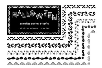 Halloween vector pattern brushes with inner and outer corner tiles. Can be used for borders, ornaments, frames, dividers and design elements. All used brushes are included in brush palette.