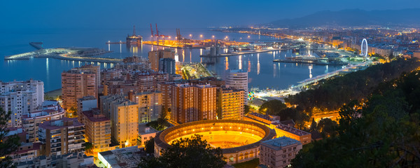 Panorama of night Malaga