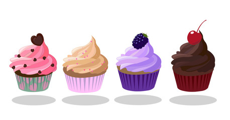Cupcakes icon set. Strawberry, Creme Brulee Coffee, Blackberry, Dark Chocolate taste. Decorated with heart-shaped , , cherry. Pink, brown, purple color. Vector illustration.