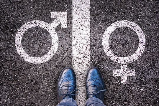 Legs with gender symbol on asphalt, gender concept