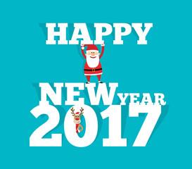 happy new year 2017 santa claus and christmas deer