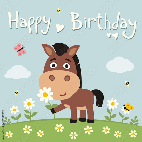 Happy Birthday Cute Horse With Flower Camomile On Flower Meadow