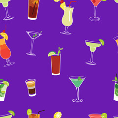 Cocktail  purple seamless vector pattern.