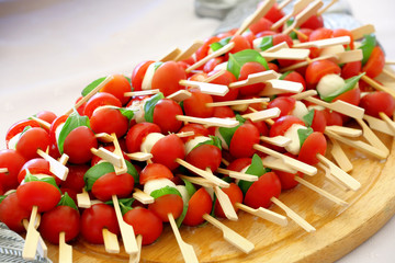 Catering set with tomato and mozarella cheese