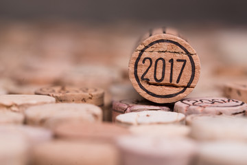 close up of a 2017 vintage new year wine cork with copyspace Fototapete