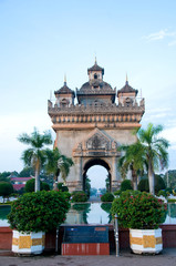Patuxai, a memorial monument, in Vientiane, Laos