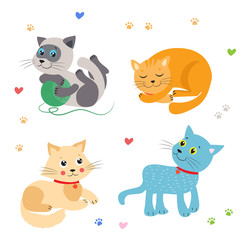 Cute Little Cats Vector Illustration. Cat Mascot Vector. Cats Meowing. Cats Sleeping, Play, Sitting. Beautiful Domestic Cats. I Love You So Much. Favorite Cat Toys. Cats For Sale. Vector Image.