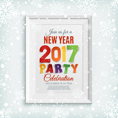 New Year party poster template with snow and snowflakes.