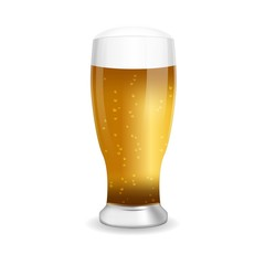 Glass of beer, isolated on white, vector illustration.