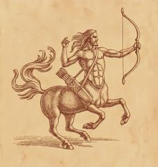 Рисунок тушью на коричневой старой бумаге. Кентавр стреляющий из лука.
