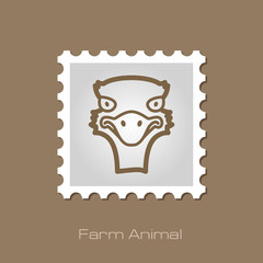 Ostrich outline stamp. Animal head vector