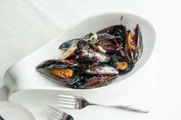 Bowl of mussels with cream sauce