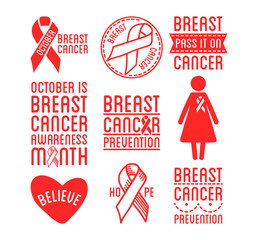 International Day of Breast Cancer Awareness. Set of vector ribbons and badges. Symbols of hope, charity and support