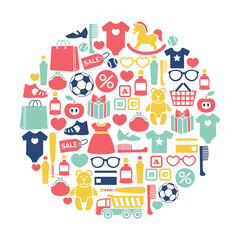 round design element with kids shopping icons