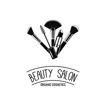 Beauty Salon Badge. Makeup Brushes Logo Vector