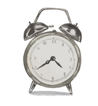Isolated watercolor alarm clock on white background. Silver metal retro clock. Elegant business equipment with bell.