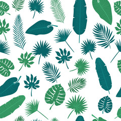 Tropical leaves seamless pattern. Floral jungle background