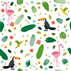 Tropical seamless pattern with pink flamingos, toucans, hummingb
