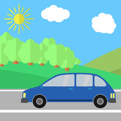 Blue Sport Utility Vehicle on a Road on a Sunny Day. Summer Travel Illustration. Car over Landscape.