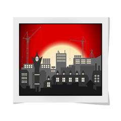 Photo frame with Industrial European vintage styled city under construction on bright red sunset background. Vector illustration
