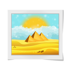 Cartoon photo frame with Egyptian pyramids in the desert with clear cyan cloudy sky. Vector illustration