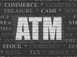 Currency concept: ATM on wall background