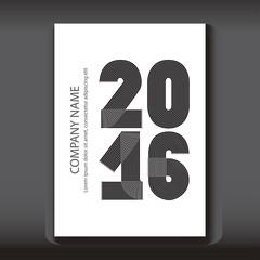 Cover Annual Report numbers 2016, modern design on blue backgrou