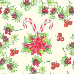Hand drawn watercolor  seamless pattern, Christmas arrowhead plant, red holly berries. Xmas decorate.