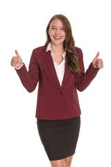 Junge Businessfrau zeigt Daumen hoch - Junge Frau zeigt Daumen hoch - freigestellt