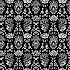 black seamless pattern skull