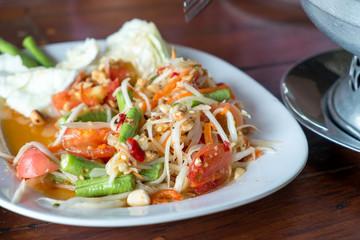 Spicy papaya salad or Som tum. Thai food