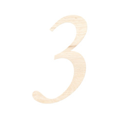Wooden digit one symbol - 3. Isolated on white background