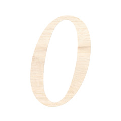 Wooden digit one symbol - 0. Isolated on white background