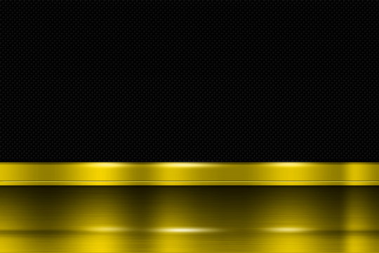 yellow metal banner on black carbon fiber. metal background.