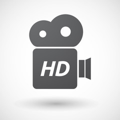 Isolated film camera icon with    the text HD