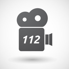 Isolated film camera icon with    the text 112