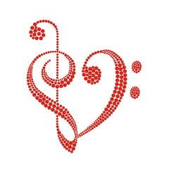 Treble clef in the form of heart circles