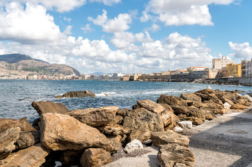 Panoramic view of Trapani on the west coast of Sicily, Italy