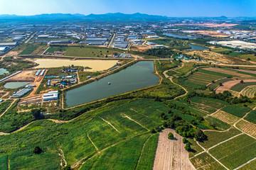 Industrial Estate Land Development Water Reservoir Farming aeria