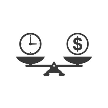 Time and money scales icon. Money and time balance on scale. Weights with clock and money coin. Vector isolated sign.