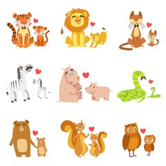 Small Animals And Their Dads Illustration Set