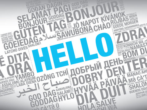 Word Hello in many languages vector word cloud concept illustration