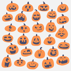 happy pumpkin face illustration set