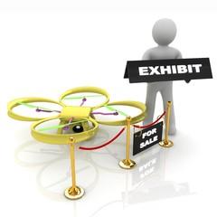 Drone, quadrocopter, with photo camera at the technical exhibiti