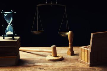 Desk of judge issuing the verdict